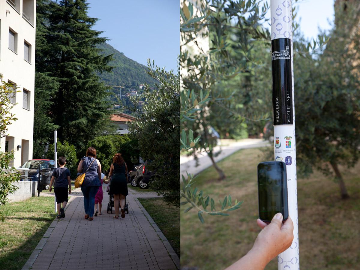 Ogni palo è dotato di un QR code che permette di fruire dei contenuti collegati