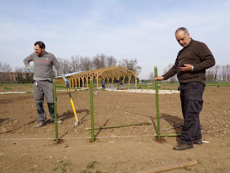la posa del recinto di bambù